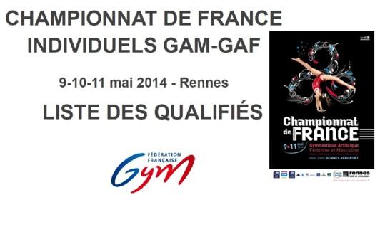 Qualifiés au Championnat de France Gymnastique Artistique en individuel à Rennes du 9 au 11 Mai 2014