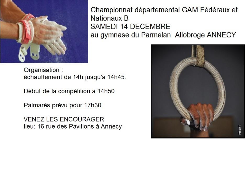 Championnat départemental GAM fédéraux et nationaux B  SAMEDI 14 DECEMBRE à l'Allobroge ANNECY