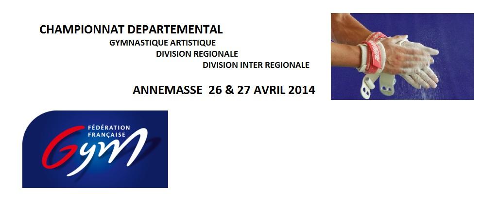 Championnat départemental GAM/GAF DR et DIR à ANNEMASSE les 26 et 27 avril 2014